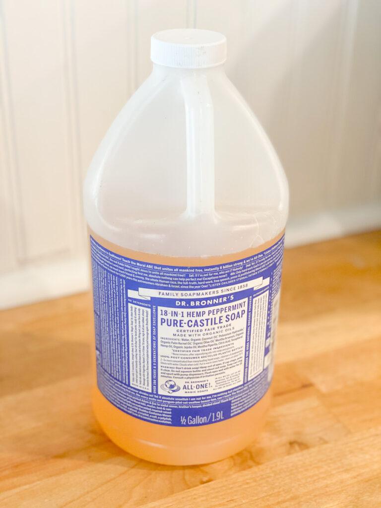 Large bottle of Castile Soap natural cleaning  soap