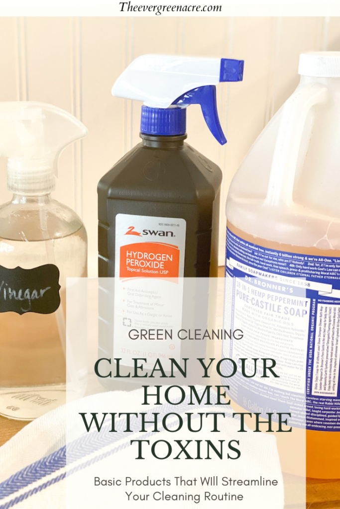 Natural Cleaners Vinegar, hydrogen peroxide, Castile soap, text